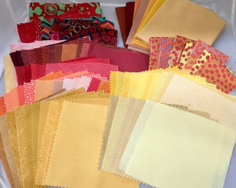 1 Pound Quilting Fabric,Reds,  Rust, Orange, Gold, Yellow - Fat Quarters, Charms