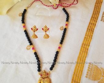 Temple jewelry-imitation jewelry-Mahalakshmi-indian jewelry-metal jewelry-semi-precious stone-obsidian-bahubali jewelry