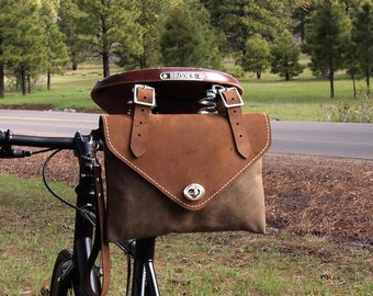 Bicycle Bag, Wristlet / Clutch, Crazy Horse Gaucho Leather and Tan Waxed Canvas, Hand Made in USA