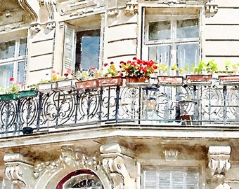 Printable Photo Art, Parisian Architecture, Balcony with Red Flowers, Instant Download, Paris Windows Watercolor Painting