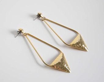 VINTAGE Earrings Long Dangle 1980s Hammered Metal Pierced