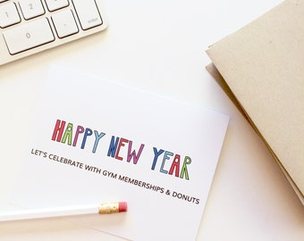 Funny Holiday card. Funny New Years Card. Happy 2018. New Year cards. 2018 cards. gym memberships and donuts.
