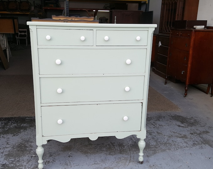 PICK UP ONLY Vintage Shabby Chic Tall Dresser, Chest, Painting Inc., Bureau