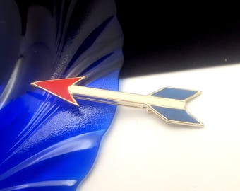 Vintage Red White & Blue Enamel Arrow Brooch