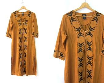 Long Indian Dress Ethnic Kimono Robe Golden Brown Tribal Embroidered Stitched Layering Gown Boho Open Fit Tunic Women's 12 Medium Large