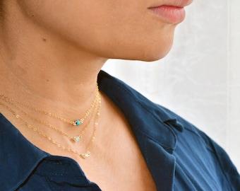 Single dainty bead choker necklace