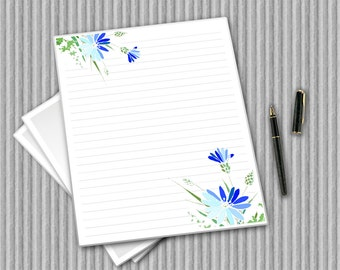 Florals writing paper set, Digital stationery, printable notepaper, Printable journal pages, lined paper, floral paper, Digital paper