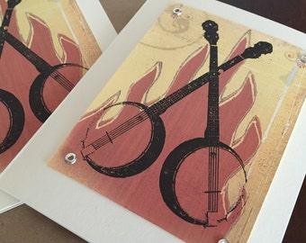 Banjos and Fire - 12 Pack Gocco Screen-Printed Cards