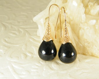 Tear drop earrings, Black gold earrings, Black dangle earrings, Bridesmaid earrings, Gift for her, Gem stone earrings, Onyx earrings