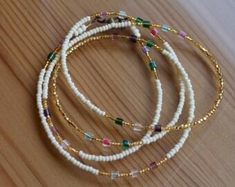 GlitzerWorld - Gold & Beige Waistbeads, Sterling Silver Clasp