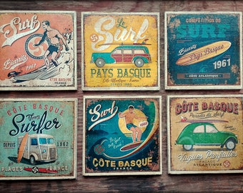 Retro coasters - surf inspired - set of 6 - distressed & patinated