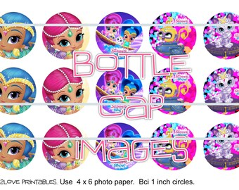 """Shimmer and Shine 4x6 - 1"""" circles, bottle cap images, stickers"""