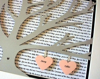 Custom Wedding Vows, Wedding Vow art, Wedding Lyric Wall Art 11X14 Unframed 3D Paper Tree Wedding Gift, Anniversary, Wedding Song Lyrics