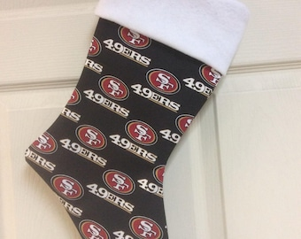 "San Francisco 49ers Christmas Stocking with your name, 18"" x 8"""