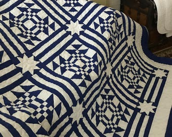 Quilt Goose in the Pond Blue and White Queen Ready to Ship