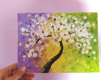 Sakura Floral paintings Miniature painting Small canvas art Tiny art Original paintings Tiny painting Tree painting Small painting Mini art