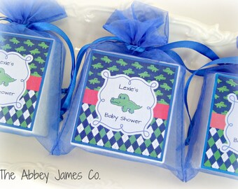 Baby Boy  Shower Favors, Baby Shower Party Favors, Alligator theme set of 10