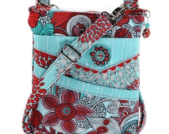 Small Zipper Crossbody Bag Red Turquoise