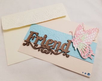 Friend handmade card, card with butterfly, embellished card, card for her, Friend blank note cards