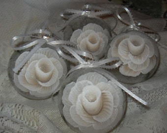 Victorian White Sparkle Hand Painted White Rose Christmas Ornaments Set of 4  Shabby Cottage Chic New