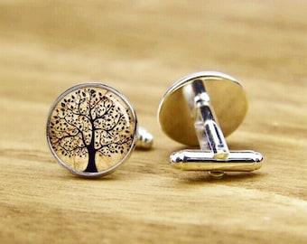 Tree Of Life Cufflinks, Life Tree Cufflinks, Personalized Cufflinks, Tree Cufflinks, Wedding Cufflinks, Groom Cufflinks, Vintage Cuff Links