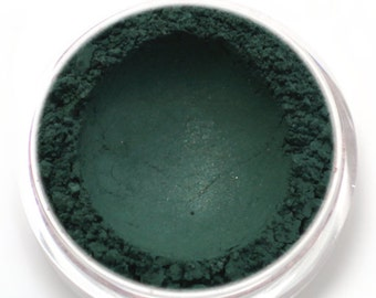 "Dark Green Eyeshadow - ""Puck"" - satiny hunter green Vegan Mineral Eyeshadow Net Wt 2g Mineral Makeup Eye Color Pigment"