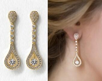 Bridal Earrings Wedding Earrings Gold Earrings Gold Crystal Bridal CZ Earring Gold Dangle Earrings Bridal Accessory Teardrop Earrings E352-G