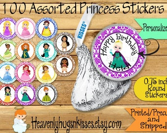 100 Chocolate kiss stickers Princess Birthday stickers Princess Chocolate Stickers Princess Kisses Labels Thank you Party Favors Royal decor