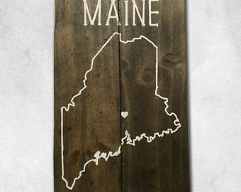 Custom Wooden State Outline Sign, Gifts Under 50
