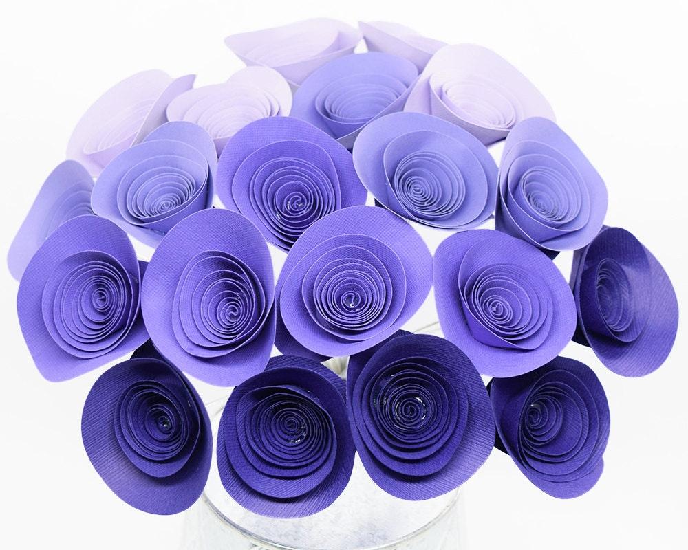 Purple Paper Flowers 20 Purple Ombre Spiral Roses Purple