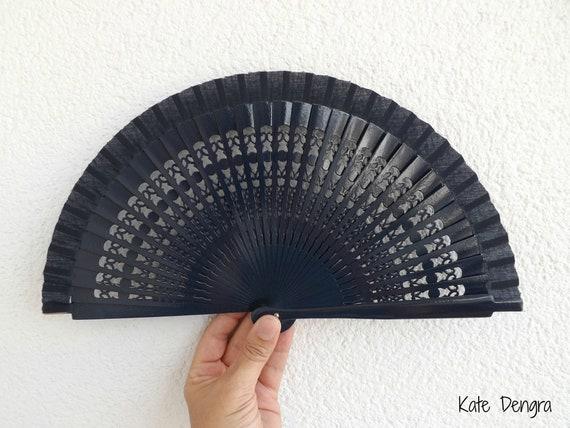 Sml Plain Fret Navy Wooden Hand Fan Customizable