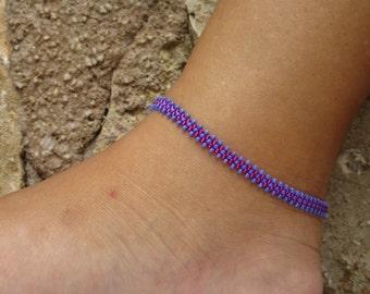 Anklet, ankle bracelet, Pink Beaded Anklet, Daisy Chain Ankle Bracelet, Purple Seed Bead Anklet, Beach Anklet, Beadwork Jewellery