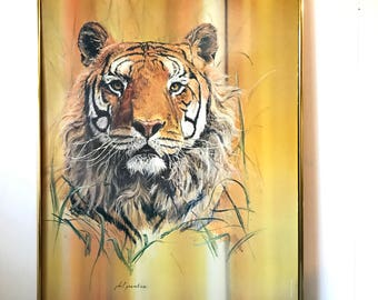 vintage framed lithograph - Tiger art - Phil Prentice - wildlife safari jungle - yellow orange