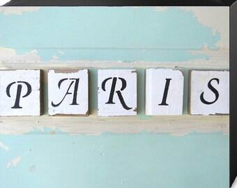 Canvas Wall Art, Paris Wall Art, Word Art, Aqua Decor, Shabby Cottage Chic, Home Decor, Paris Apartment, French Art, Girls Room, CANVAS SALE