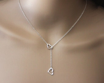 Sterling Silver Necklace Heart Pendant Necklace - Crew Necklace - Heart Necklace - Silver Necklace - Minimalist Necklace