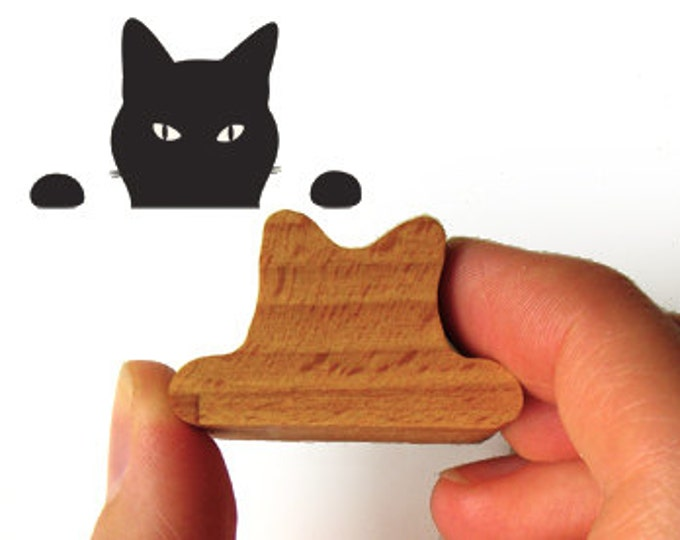 Cat Stamp, Peeping Tom Kitty Rubber Stamp for Cat Lovers