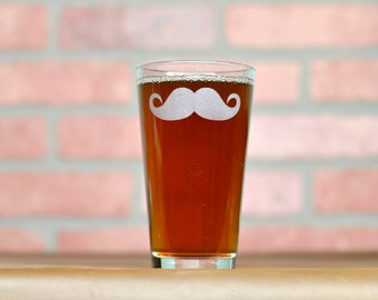 Mustache Glass. Etched Pint Glass. Beer Gifts.