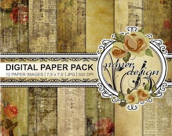 Shabby papers, digital background, scrapbook, printable paper, grunge, vintage wedding, old paper pack, romantic roses #14