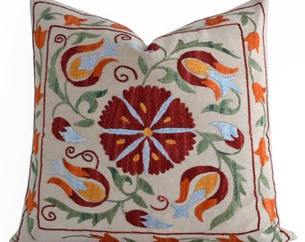SALE 30% Hand Embroidery Silk Suzani Pillow Red Blue Orange Beige Suzani Pillow Suzani Pillow Decorative Pillow, Throw Pillow, Accent Pillow