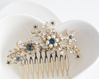 Wedding Comb Gold Bridal Hair Comb Something Blue Crystal Comb Flower Leaf Bride Hair Clip Montana Sapphire Rhinestone Hair Accessory SABINE