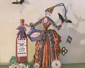 Steampunk Halloween Decoration - 3D Digital INSTANT Download Victorian Bat Vampire Lady Paper Doll - With Mouse Garlic Blood Bottle HP15H