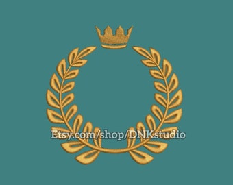 Laurel Wreath with Crown Embroidery Design - 6 Sizes - INSTANT DOWNLOAD
