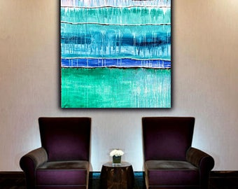 Extra Large Blue Abstract Painting on Canvas,  !