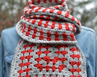 Crochet Scarf Pattern UNsquared Granny Super Scarf crochet pattern winter scarf aran worsted weight yarn INSTANT pdf DOWNLOAD knit pattern