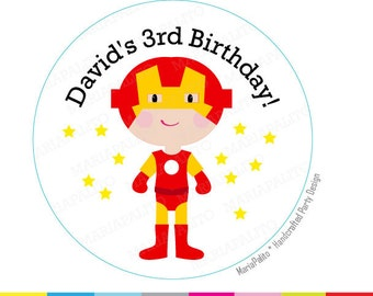IRONMAN stickers, SuperHero Party, Personalized PRINTED round Stickers, tags, Labels or Envelope Seals, A1283