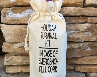 muslin wine bag, holiday survival kit, muslin gift bag, wine gift bag, wine tote