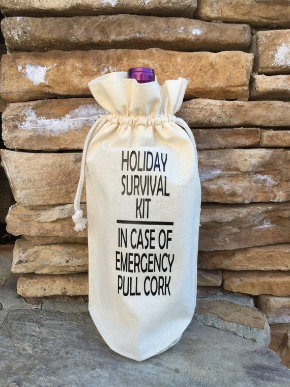Muslin Wine Bag Holiday Survival Kit Muslin Gift Bag Wine