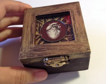 Heart Box Small Jewel Box with Anatomical Heart Illustration Burgundy and Gold Ring Box Steampunk Goth Style Gift for Her Jewelry Storage