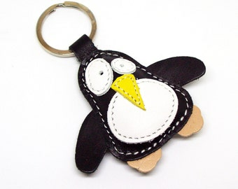 Wolly The Cute Little Black Penguin Handmade Leather Keychain - FREE Shipping Worldwide - Handmade Leather Penguin Bag Charm