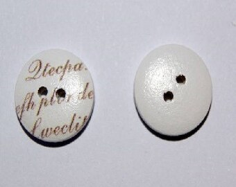 Small white button printed text - set of 10